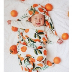 Baby double deck bamboo fiber towel towel printed with multifunctional baby blanket orange 120*120cm