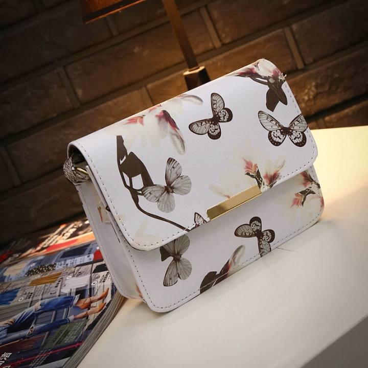version of fashion single shoulder printed Narcissus single shoulder skew spanning small square bag white one size