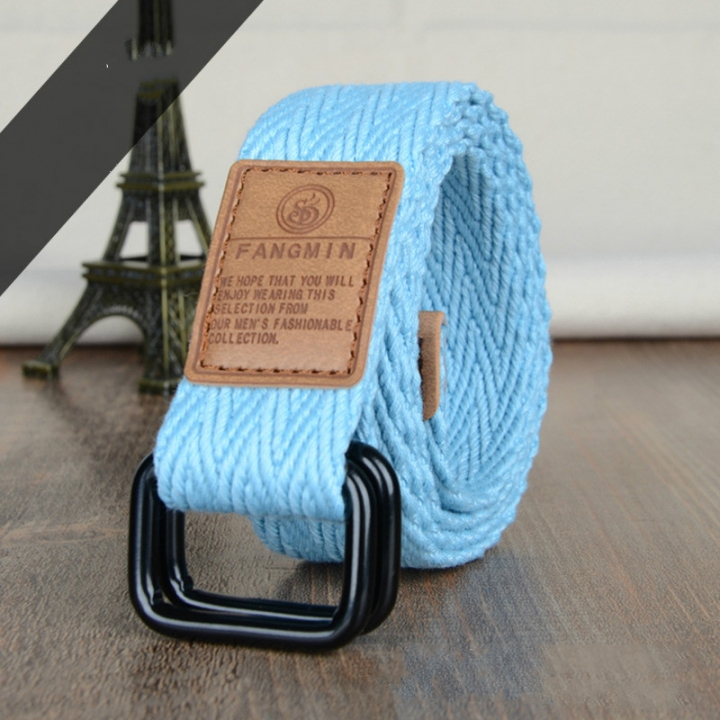 Men's canvas casual belt double ring buckles men's canvas belt thickened canvas belt canvas belt. blue one size