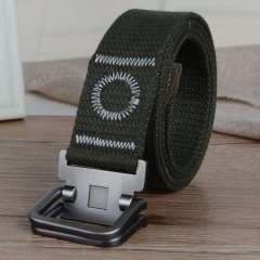 Men's canvas casual belt double ring buckles men's canvas belt thickened canvas belt, canvas belt. army green one size