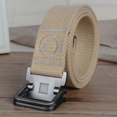 Men's canvas casual belt double ring buckles men's canvas belt thickened canvas belt, canvas belt. khaki one size