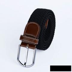 Men's canvas knitted waistband no holes elastic braided elastic belt pin leisurefashion wide women black one size