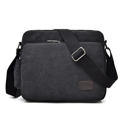canvas bag, men's bag shoulder bag men's leisure bag, Korean version satchel multi-function iPad black one size