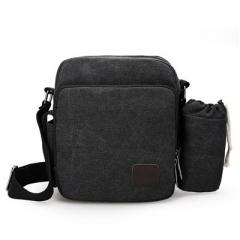 New Retro canvas men's bag men's leisure bag multi function men's single shoulder bag D6663-S black one size