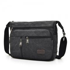 Men's canvas single shoulder bag multi compartment leisure man bag large capacity men's Satchel Bag black one size