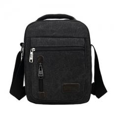 Men's satin bag multi-function portable handbag, retro men's single shoulder bag fashion men's bag black one size