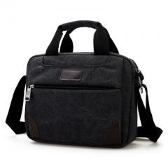 Men's canvas single shoulder bag multi compartment men's Satchel Bag black one size