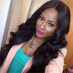 Wig, high temperature wire, big wave, black, medium length, long hair, lady's head. type 1