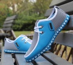 Men's shoes low fashion casual shoes bean bean shoes business ventilation shoes. light blue 39 PU