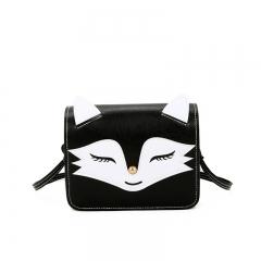Women's bag satchel little fox cartoon cute single shoulder bag student free ride skew black one size
