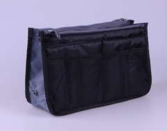 Hand-held double zipper cosmetic bag multifunctional toiletries bags bags and finishing bags. black one size