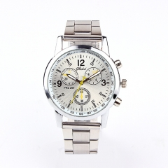 Three eye six pin steel belt watch fashion trend watch gift table White