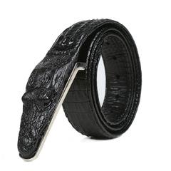 Crocodile pattern belt, men's leisure leather belt black one size