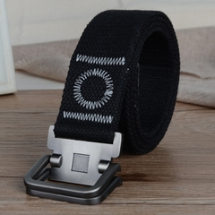 Men's canvas casual belt double ring buckles men's canvas belt thickened canvas belt, canvas belt. black one size