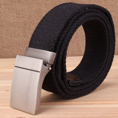 Belt Men Auto-buckle Canvas Simple 100-fold Belt Young Men Canvas Naked Students Trend Street black one size
