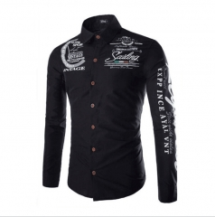 Men Fashion Floral Printed Long Sleeves Shirt - BLUE Color Contrasted  Dress ShirtsMen's Stylish black M