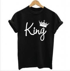 Mens Tshirts Men's Kings Only Print T-Shirt - Black Print Fashion Classic pure color printing black s cotton