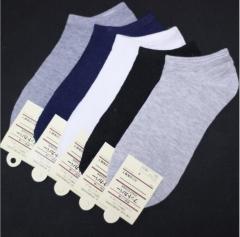 Natural Grace Mens Invisible Socks- Black/Grey/White - 3 Pairs  Pure Cotton Socks Breathable  Gift white Telescopic elastic