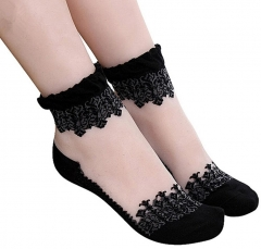 Gothic Women Lace Ultra Thin Transparent Breathable Elastic Short Socks Gift-Black Beautiful Crystal black telescopic