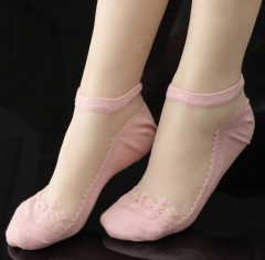 Gothic Women Lace Ultra Thin Transparent Breathable Elastic Short Socks Gift-Black Beautiful Crystal pink telescopic