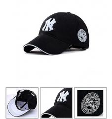 Fashion NY Designer Baseball Face Cap Hat- Black Snapback white