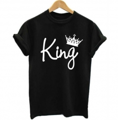 Mens Tshirts Men's Kings Only Print T-Shirt - Black Print Fashion Classic pure color printing black s cotton