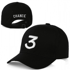 BlueLife Chance 3 Embroidery Hip Hop Cap Rapper Baseball Hat For Men/Women -Black black black free size