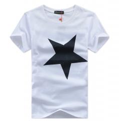 Neworldline High Quality 100% Contton Men Printed Fashion Short Sleeve T-shirt - White white xl 100%cotton