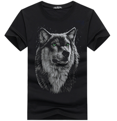 Print TShirt - Black  summer new short sleeved t-shirt men's  Wolfman half sleeves men's fashion black S cotton
