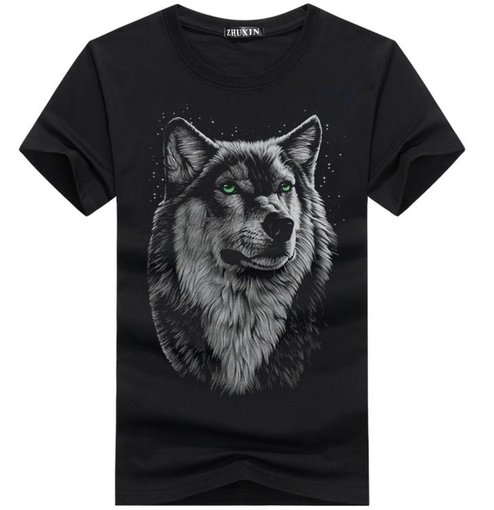 Print TShirt - Black  summer new short sleeved t-shirt men's  Wolfman half sleeves men's fashion black S (45KG-50KG) cotton