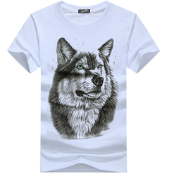 Print TShirt - Black  summer new short sleeved t-shirt men's  Wolfman half sleeves men's fashion white XXXL  (80KG-88KG) cotton