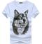 Print TShirt - Black  summer new short sleeved t-shirt men's  Wolfman half sleeves men's fashion white XXXL  (80KG-88KG) cotton