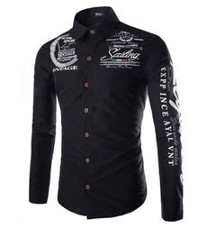 Men Fashion Floral Printed Long Sleeves Shirt - BLUE Color Contrasted  Dress ShirtsMen's Stylish black L