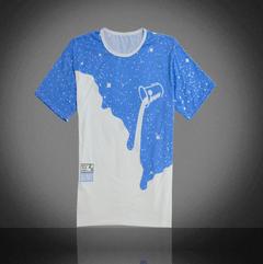 Bluelans Men's Fashion Summer Milk Poured Pattern Printed Short Sleeve Round Neck T-shirt-Black blue xxl cotton