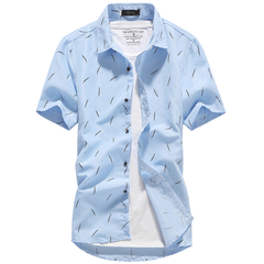 Fashion Men Shirt Double Breasted Dress Short Sleeve Slim Fit Camisa Masculina Casual Male Hawaiian blue s  (45KG-50KG)