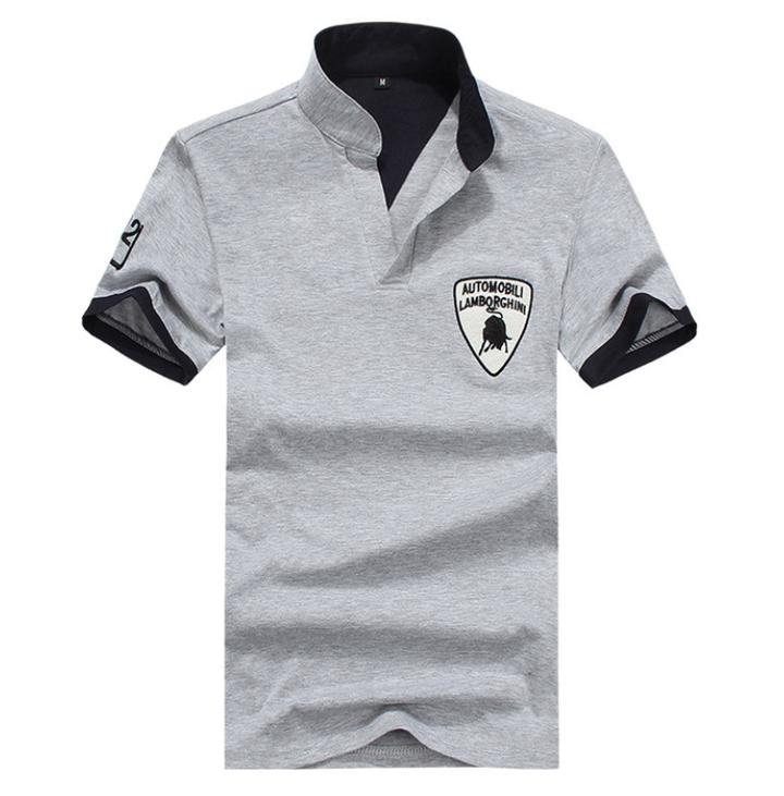 Fashion Men's Polo Shirt For Men Desiger Polos Cotton Short Sleeve  Clothes Jerseys Golftennis Plus gray xxxxl 100%cotton