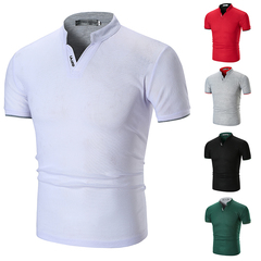 Fashion Mens Dress Casual Slim Fit Short Sleeve Polo Shirts -White Cotton !!! gray M (50kg-58kg) 100%cotton
