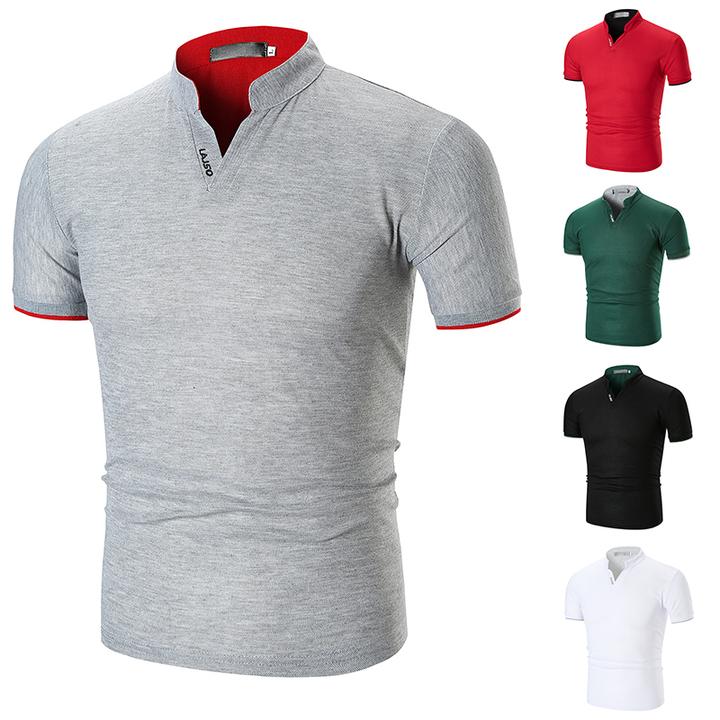 Fashion Mens Dress Casual Slim Fit Short Sleeve Polo Shirts -White Cotton !!! gray M (50kg-58kg) 100%cotton