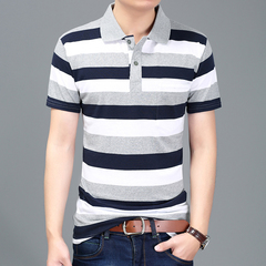 Fashion Super Big Size Men Polo Striped Shirt  Cotton Summer Striped Business Casual  Clothing Short white and red l 100%cotton