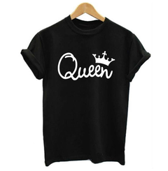 Mens Tshirts Men's Kings Queen  Print T-Shirt - Black  Fashion Classic pure color  can change size queen s cotton