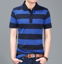 Men's Striped Polo Shirt Summer Tops&Tees Casual Short Sleeve T-Shirts For Male  Cotton !!! blue and black l 100%cotton