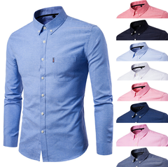 Matatu dresses New Men Oxford Shirt Youth Fashion Slim Fit Shirt Brand Clothing Mens Business Shirt blue m