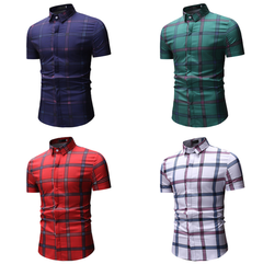 Printed Short Sleeve Men Shirt Brand Casual Turn-down Slim Fit Male Social Business Shirt red m
