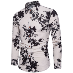 Fashion Men Shirt Fashion Long Sleeve  New Palace Style Embroidery Slim Fit Male Turn-Down Collar navy blue flower xxxxl