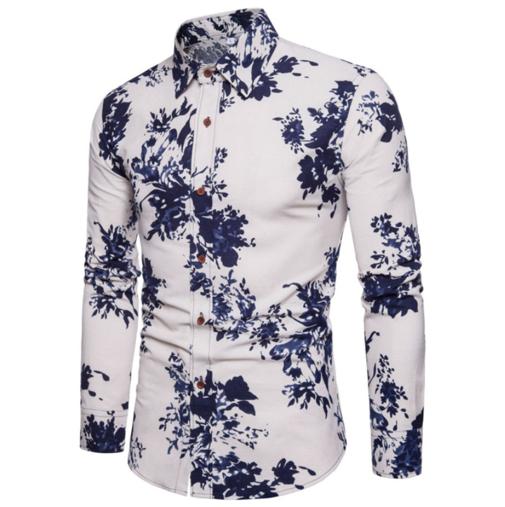 Fashion Men Shirt Fashion Long Sleeve  New Palace Style Embroidery Slim Fit Male Turn-Down Collar navy blue flower xxxl