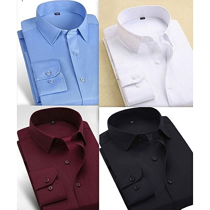 Fashion Set-of-Two Long Sleeve Shirts For Men Fashion Quality  In One Smart Fitted Corporate Plain 2 colour 100%cotton xxxl