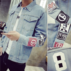 Fashion dresses Solid Coat Casual Slim Mens Denim Jacket Bomber Men Cowboy Jacket blue S