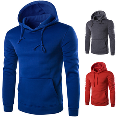 Men 2019 Dress  Hoodie Sweatshirt Solid Color Fleece Tracksuit Hombre Hip Hop Male Hooded Sportswear gray XXL (72KG-80KG)