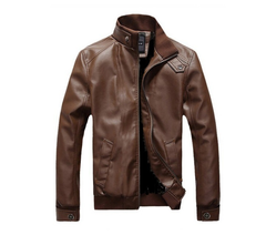 Fashion Motorcycle Pure Leather Jacket Men Plus Size, Brown Flash sale good quality Big promotion brown s (45KG-50KG)