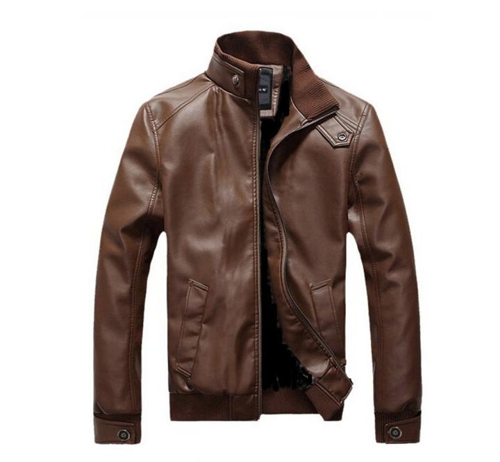 Fashion Motorcycle Pure Leather Jacket Men Plus Size, Brown Flash sale good quality Big promotion brown 4XL (88KG-100KG)